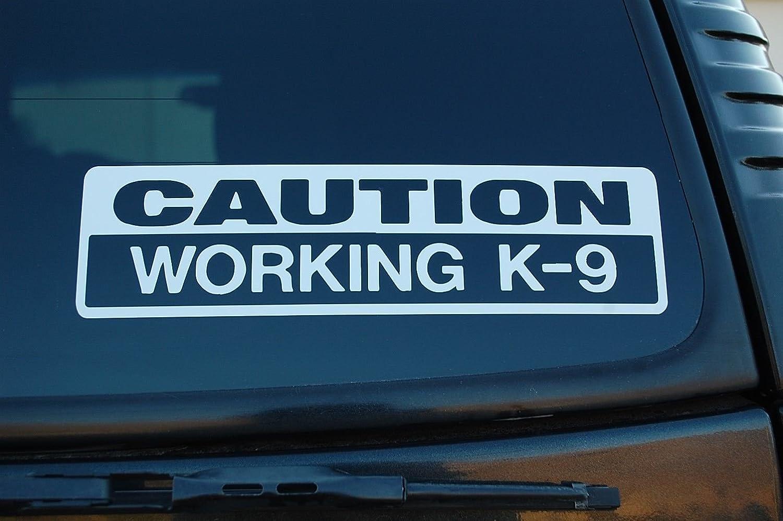 Amazon com k 9 caution working k9 vinyl sticker decal police dog law enforcement choose color x 3 white automotive