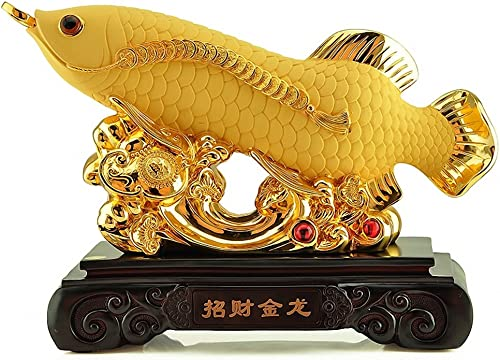 Wenmily Large Size Feng Shui Golden Wealth Arowana Golden Dragon Fish Lucky Fish Statue Figurine, Office Living Room Decoration,Best Gift for Business Opening,Feng Shui Decor