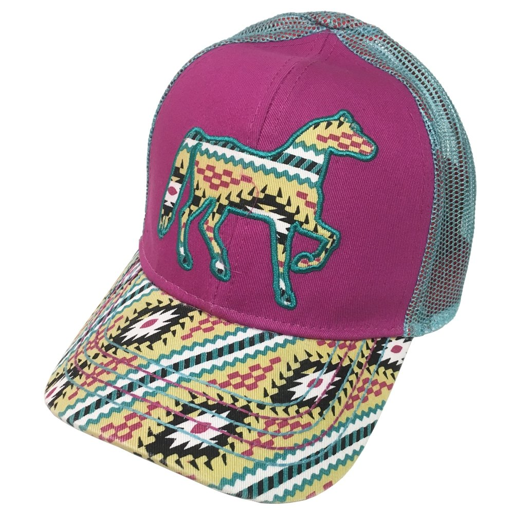 Farm Boy Brand Aztec Pattern Horse Pink Youth Snapback Hat - F83088305MP0ML by Farm Boy (Image #1)