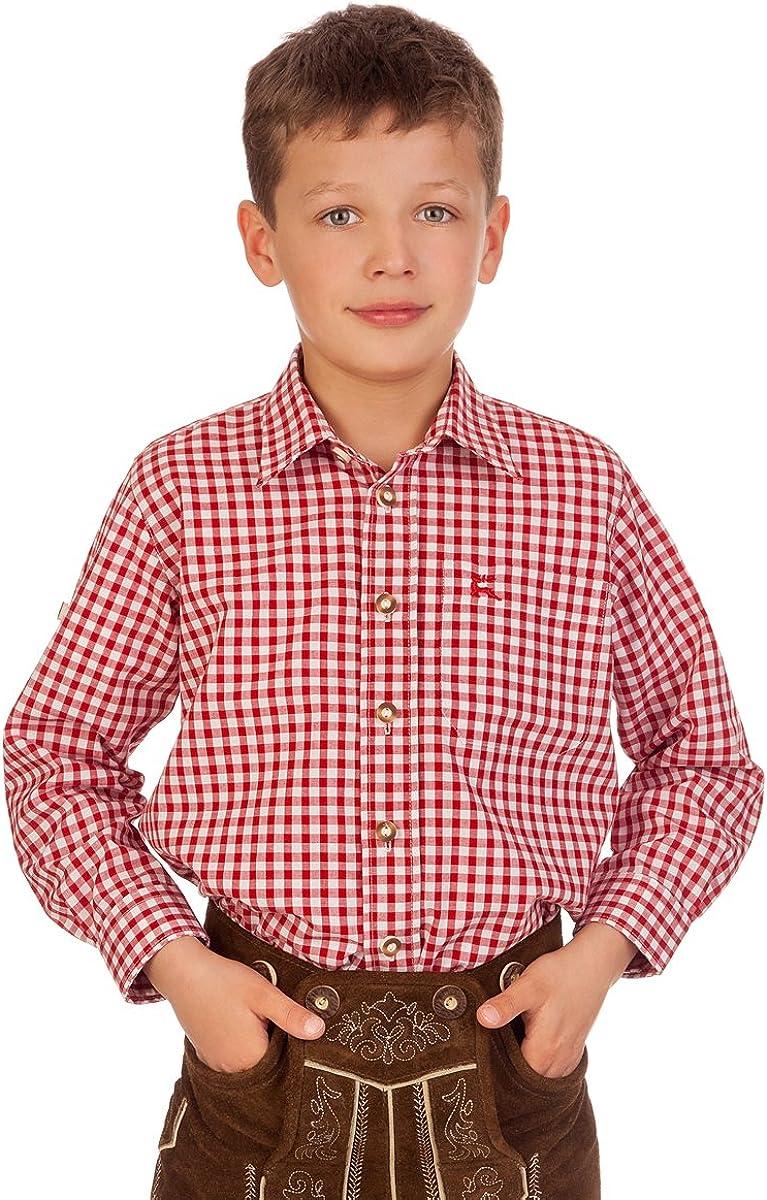 PETERLE Petrol blau Ki-H037 rot orbis Textil Trachten Kinderhemd