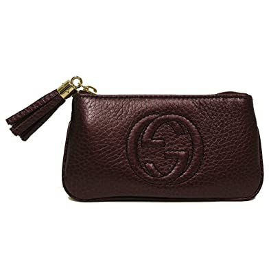 730a28f37a7b Amazon.com: Gucci Soho Burgundy Plum Leather Tassel Clip Keychain Wallet  354358: Shoes