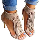 Huiyuzhi Womens Open Toe Fringe Tassel Sandal High Heel Pump Sandal