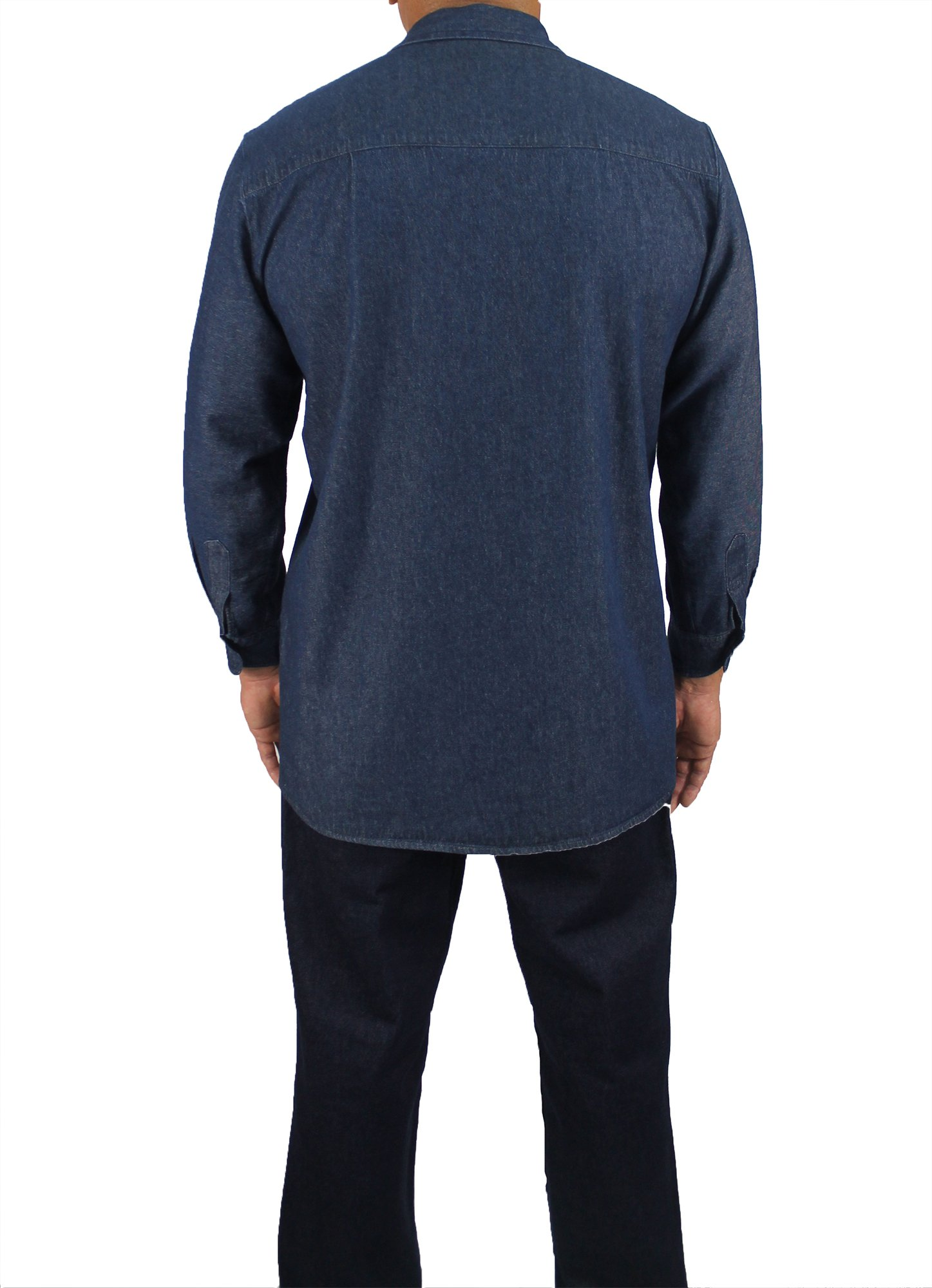 Kolossus Men's Lightweight 100% Cotton Long Sleeve Work Shirt with Pockets (Chambray, Small) by Kolossus (Image #2)