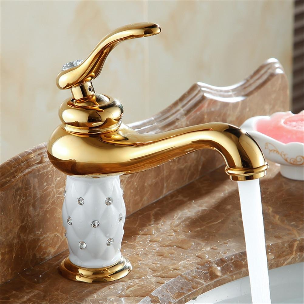HomJo bathroom basin gold faucet ,Brass with Diamond/crystal body tap New Luxury Single Handle hot and cold tap , 1