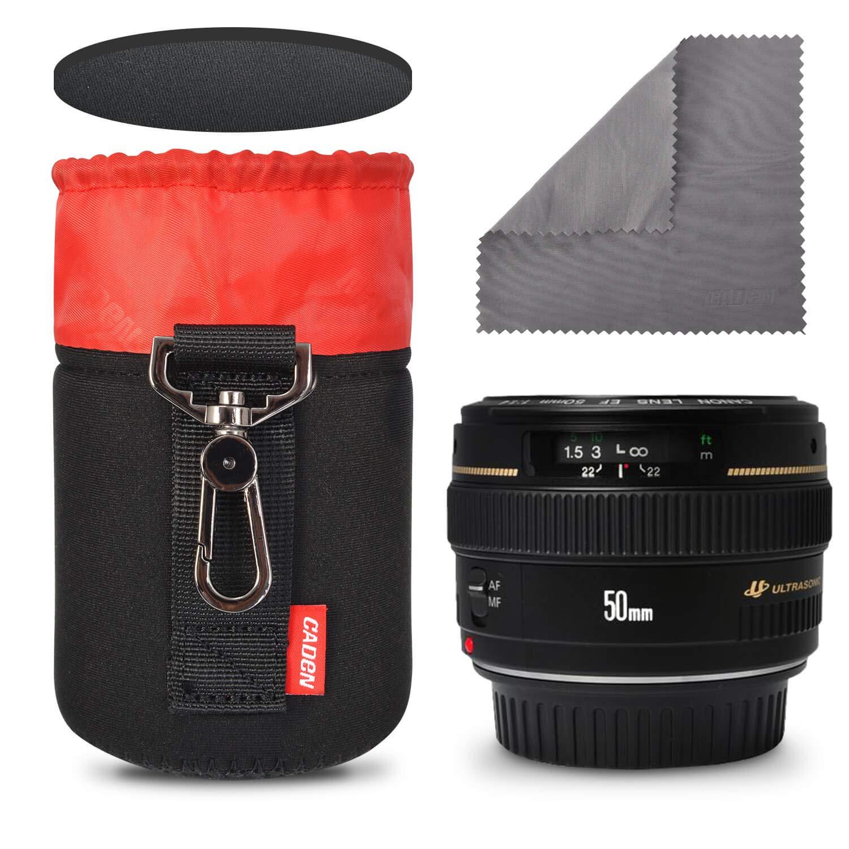 Borsa in neoprene spessore 7,5 mm Borsa compatibile per obiettivo fotocamera DSLR (Canon, Nikon, Pentax, Sony, Olympus, Panasonic), Piccola + Media + Grande CADeN CN1088SMLJ139-4BK