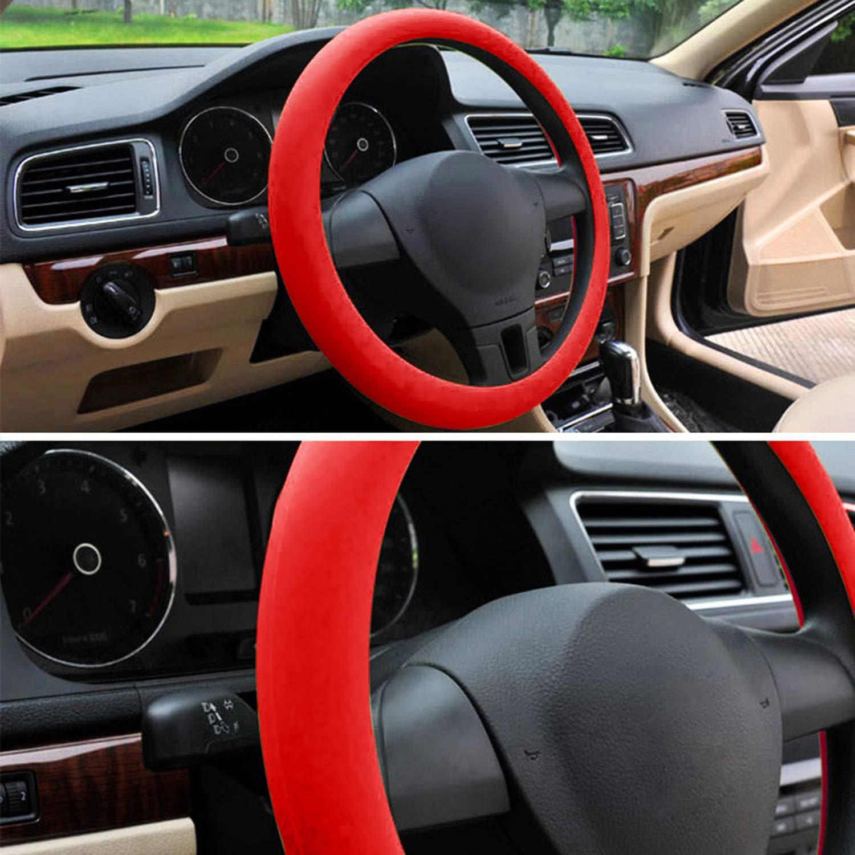 Vococal Universel Anti-d/érapant r/ésistant /à lusure en Silicone Auto Voiture Volant Housse de Protection pour 36-40cm diam/ètre Roue Rouge