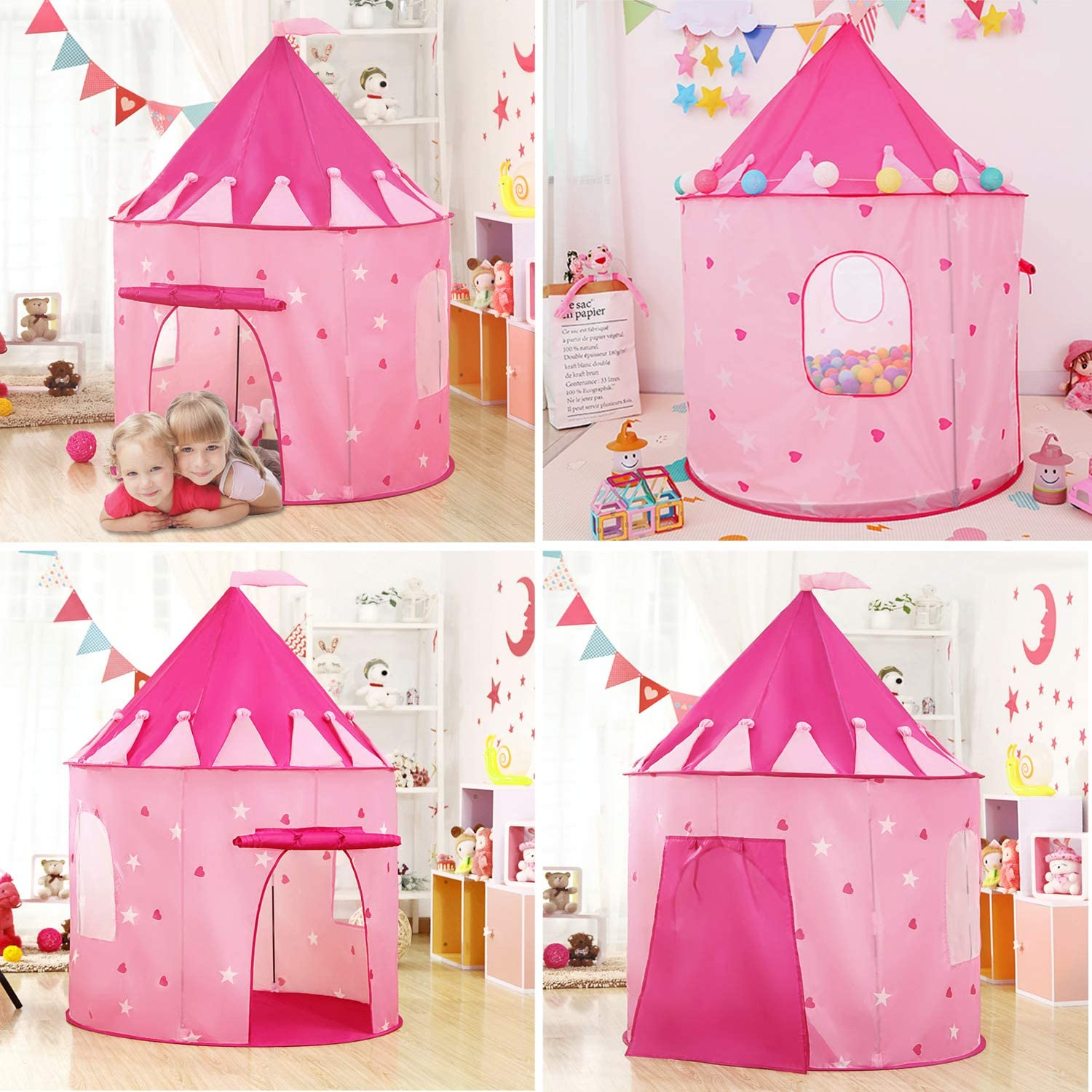 VOJUEAR 3pc Boys /& Girls Play Toy Tents and Tunnels,Princess Fairy Tale Castle Play Tent Crawl Tunnel /& Ball Pit with Basketball Hoop for Toddlers,Playhouse as Portable Storage Bag Pink /…