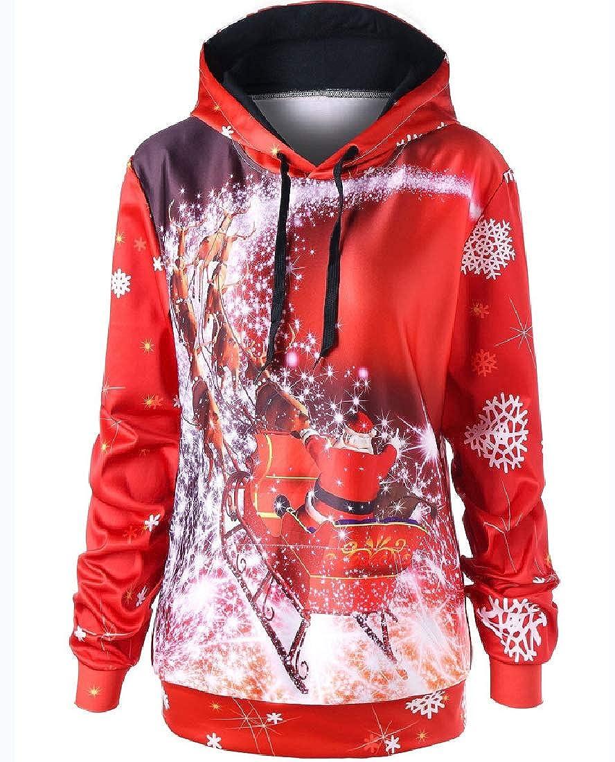 Losait Women Hoode Floral Printed Christmas Casual Long Sleeve Sweatshirt