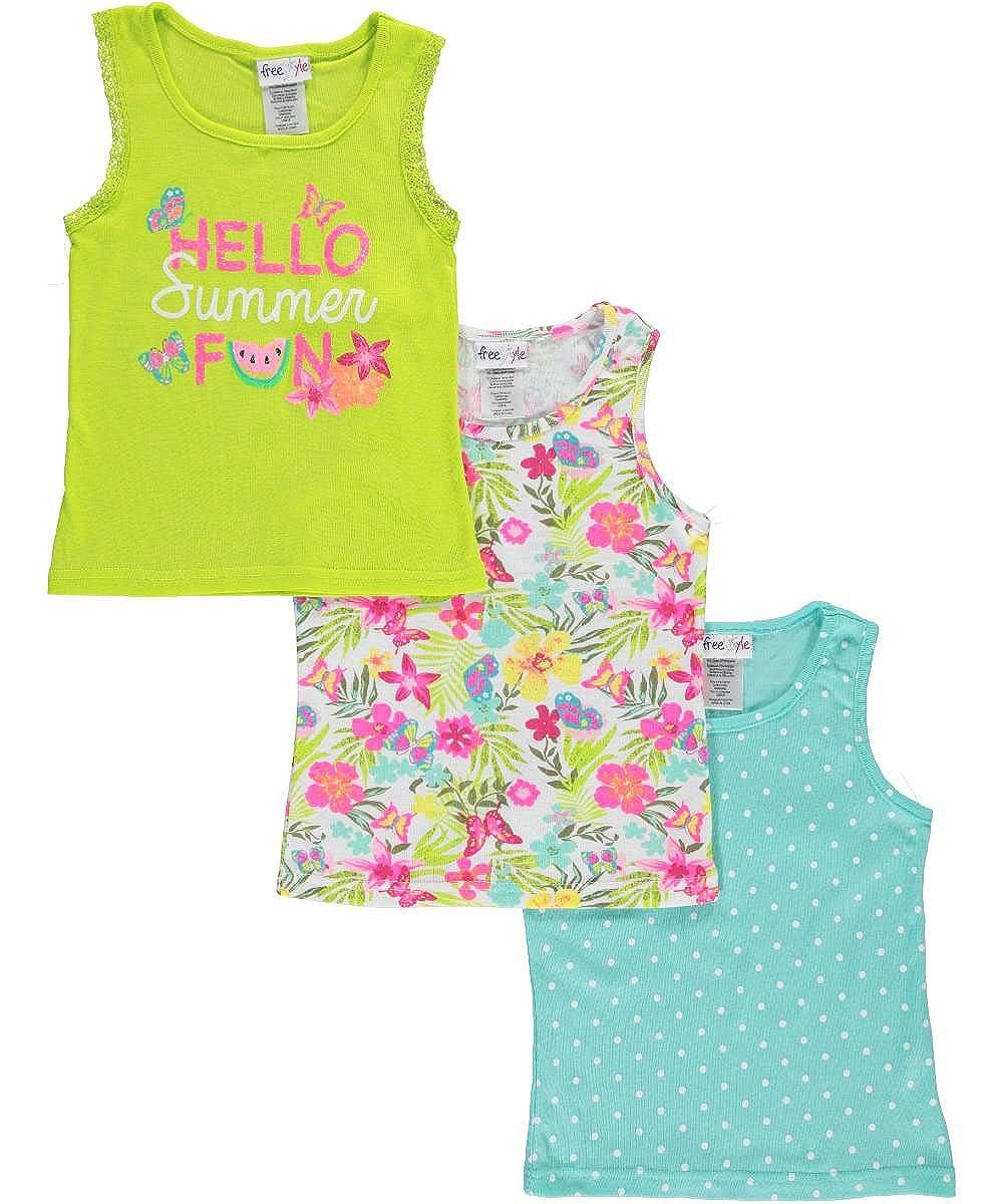 Freestyle Revolution Big Girls' Summer Fun 3-Pack Tank Tops 7 FS7-54151
