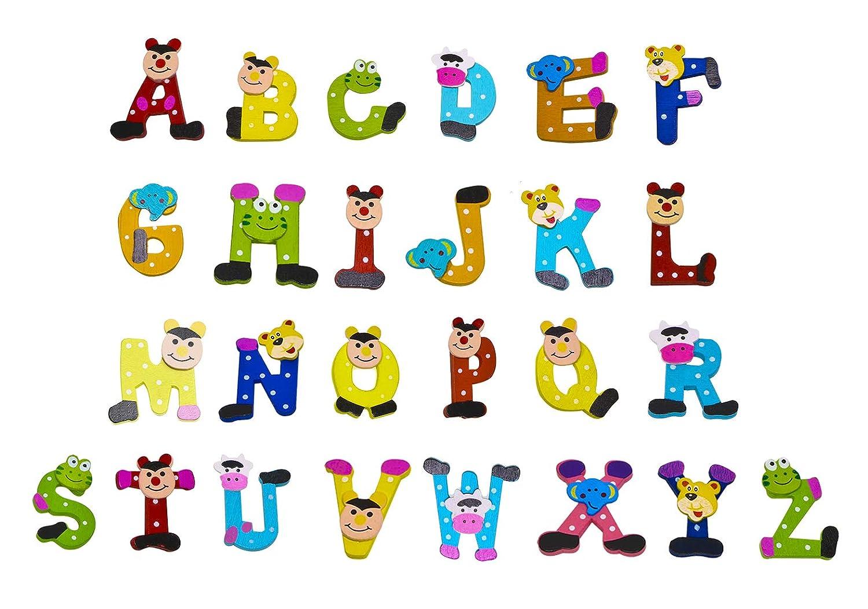 PENTA ANGEL 26Pcs Wooden Magnets Fridge Letters Wood Large Magnetic Refrigerator ABC Alphabet Cute Spelling Learning Game Toys for Kids Baby Girls Boys Toddler Preschool Educational (Letter 2)