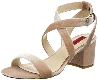 London Rebel Damen Beatrix Offene Sandalen mit Keilabsatz