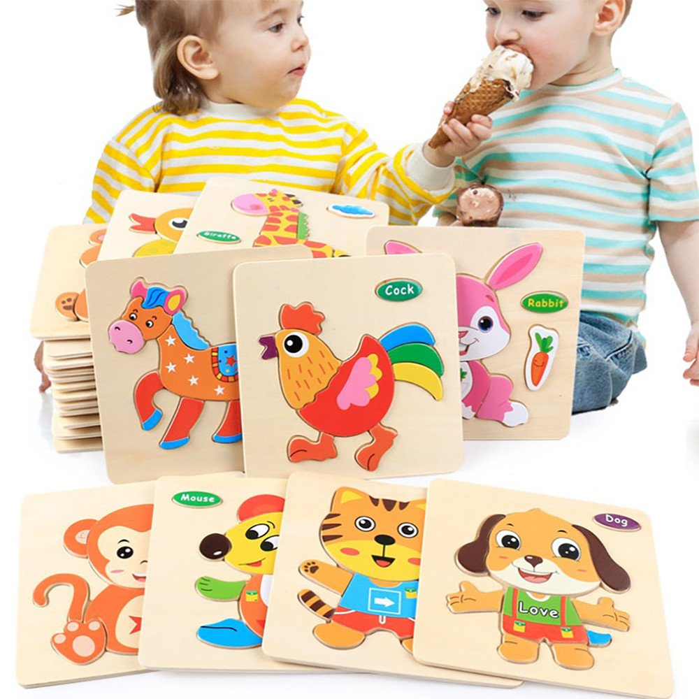 CieKen Wooden Puzzles for Toddlers 2 Years,Wooden Puzzle Educational Developmental Baby Kids Training Toy by CieKen (Image #4)