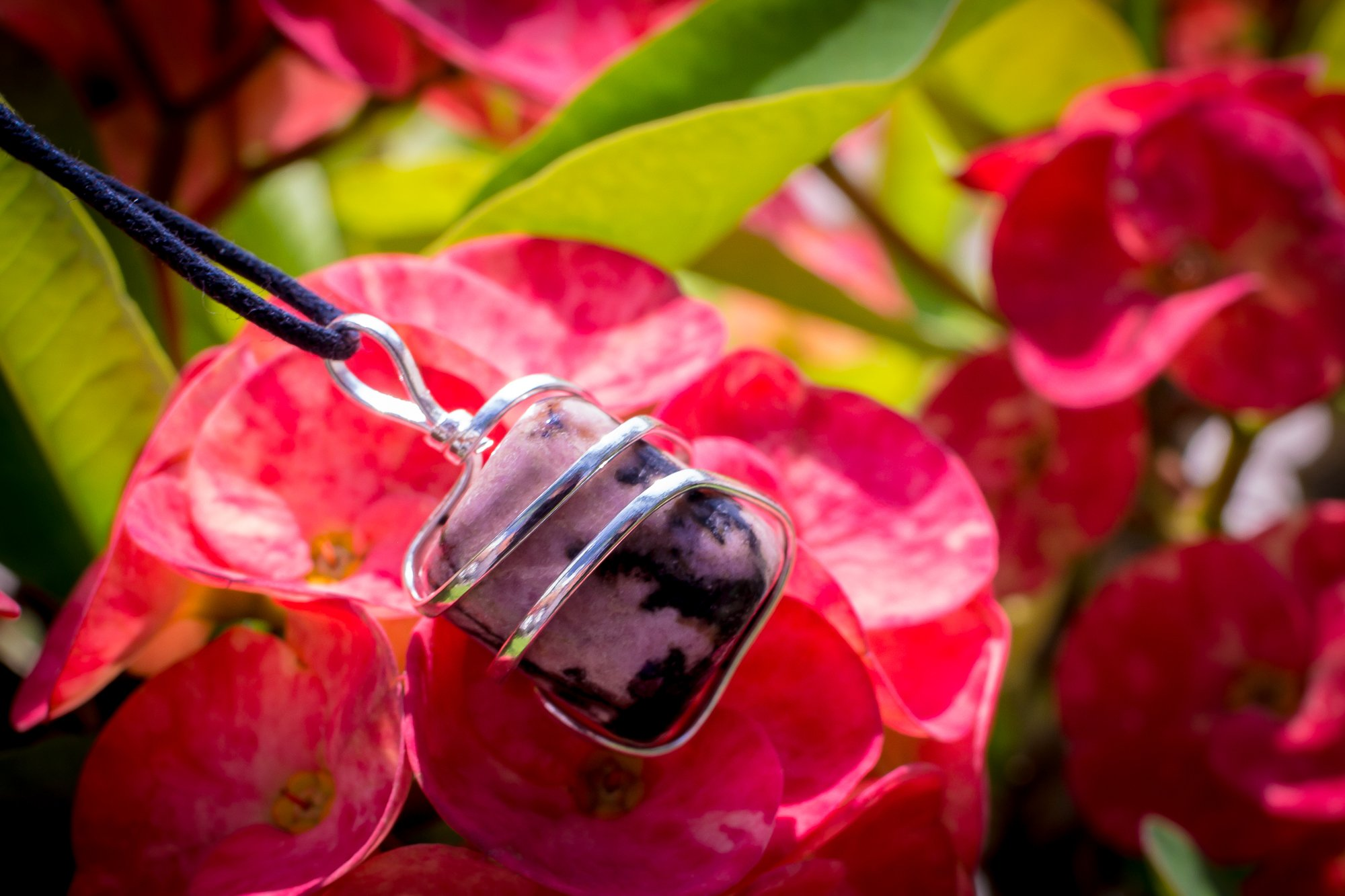Rhodonite Crystal Pendant Necklace – Compassion Forgiveness Release of Fear Emotional Healing Heartbreak Relationships - Authentic Stone on Adjustable Length Cord - Real Gemstone Chakra Healing Charm by Ayana Wellness (Image #1)
