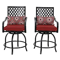 Deals on 2-Pk Phi Villa Extra Wide Height Swivel Bar Stools Arms Chairs