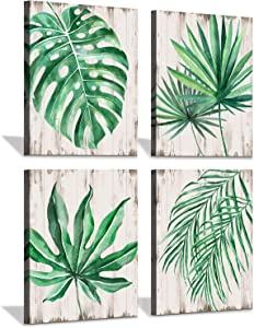 Leaf Prints Wall Art Canvas: Green Tropical Plant with Wooden Textured Style Background Palm Leaf Decor for Walls (12 X 16 X 4)
