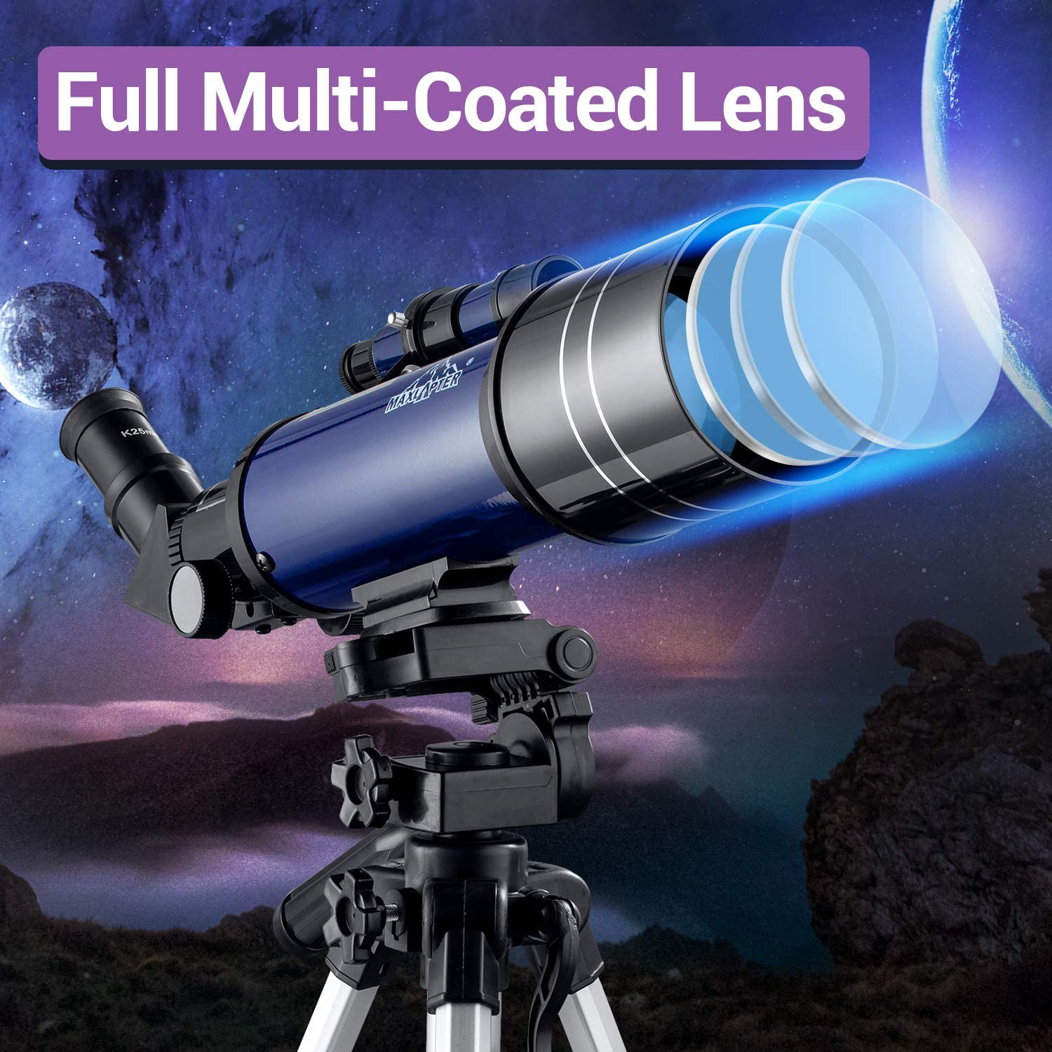 Smartphone Adapter 70mm Travel Refractor Telescope for Astronomy with Adjustable Tripod MAXLAPTER Telescope for Kids and Beginners Backpack Camera Shutter Wire Control