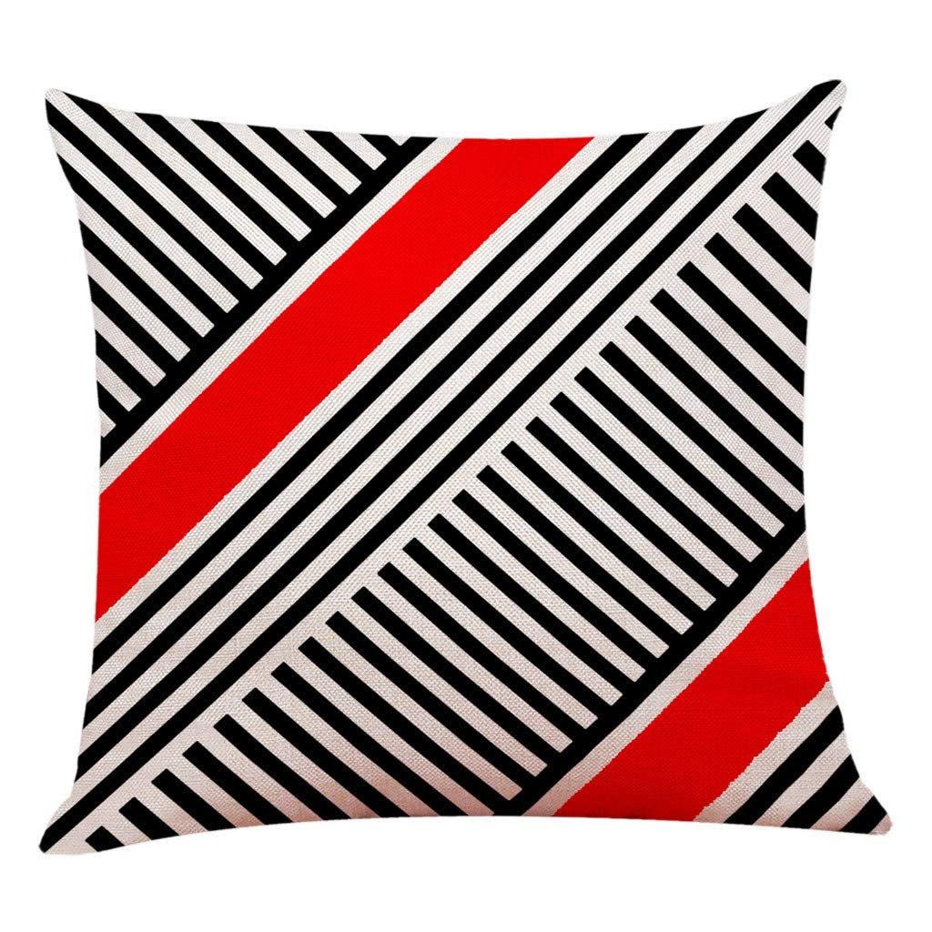 Modern Throw Pillow Cover Minimalism Stripe Geometry Printing Pillow Case 18x18 inch Linen Blend Square Throw Cushion Cover for Sofa Bedroom Car Decor (H)