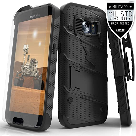 new style c65a1 8acca Samsung Galaxy S7 Case, Zizo [Bolt Series] w/ [Galaxy S7 Screen Protector]  Kickstand [12 ft. Military Grade Drop Tested] Holster Clip - Galaxy S7 G930