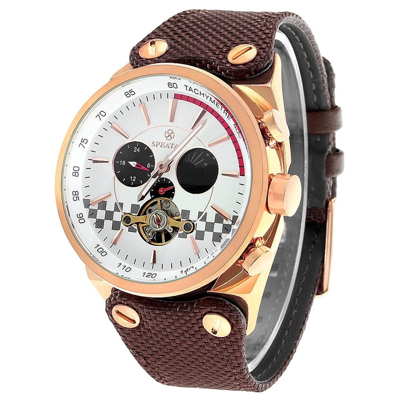 Souarts Herren Braun Segeltuch Mechanische Skelett Armbanduhr mit 3 Zifferblatt Uhr