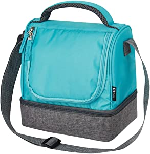 Quest Lunch Bag Women Men w/ Dual Compartment Zipper Closure, Adjustable Carry Strap and Carry Handle, Insulated PEVA Lining Leakproof, Easy Cleaning Food Storage Bag [Grey/Turquoise] - Primo Series