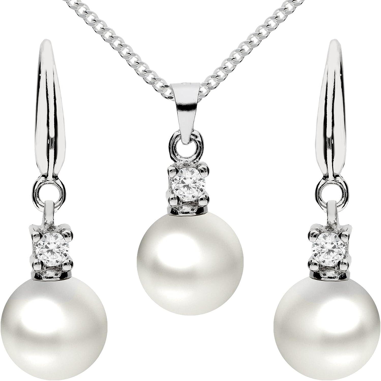Mya tipo Mujer Joyas Set 925plata circonitas con colgante de perlas collar de perlas pendientes perlas cadena cadena pendientes colgante Set myasiket de 79