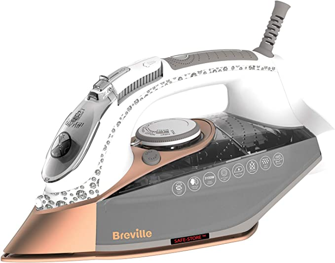 Breville VIN401 DiamondXpress Steam Iron, 3100 W, 200G Steam Shot, Multi-Directional Diamond Ceramic Soleplate, 400 ml Water Tank, White & Rose Gold