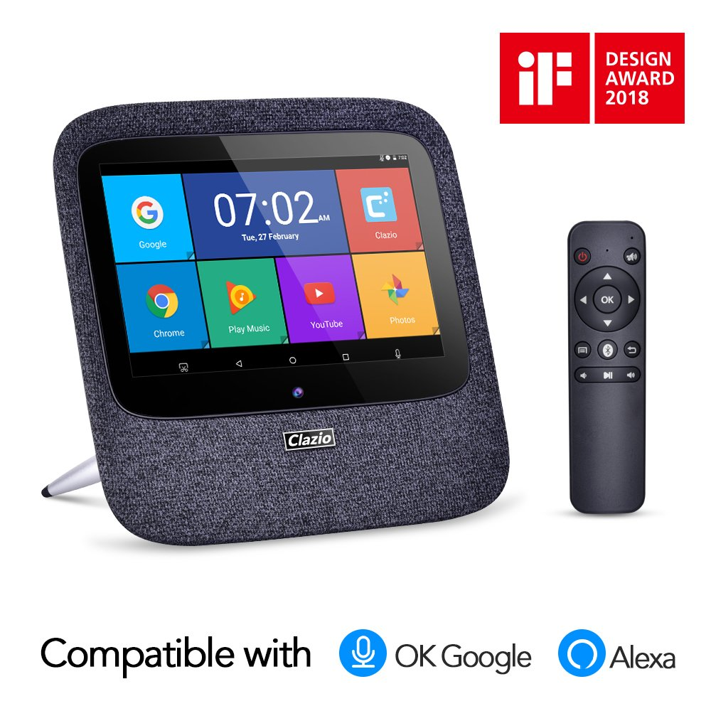 """Wireless Bluetooth Speaker,Clazio Spark Enabled Alexa and OK Google Voice Control Smart Home,With 7"""" Display 2GB+16 GB Portable Stereo Speaker Widely Used for Music Video Alarm Internet Radio TV Box"""