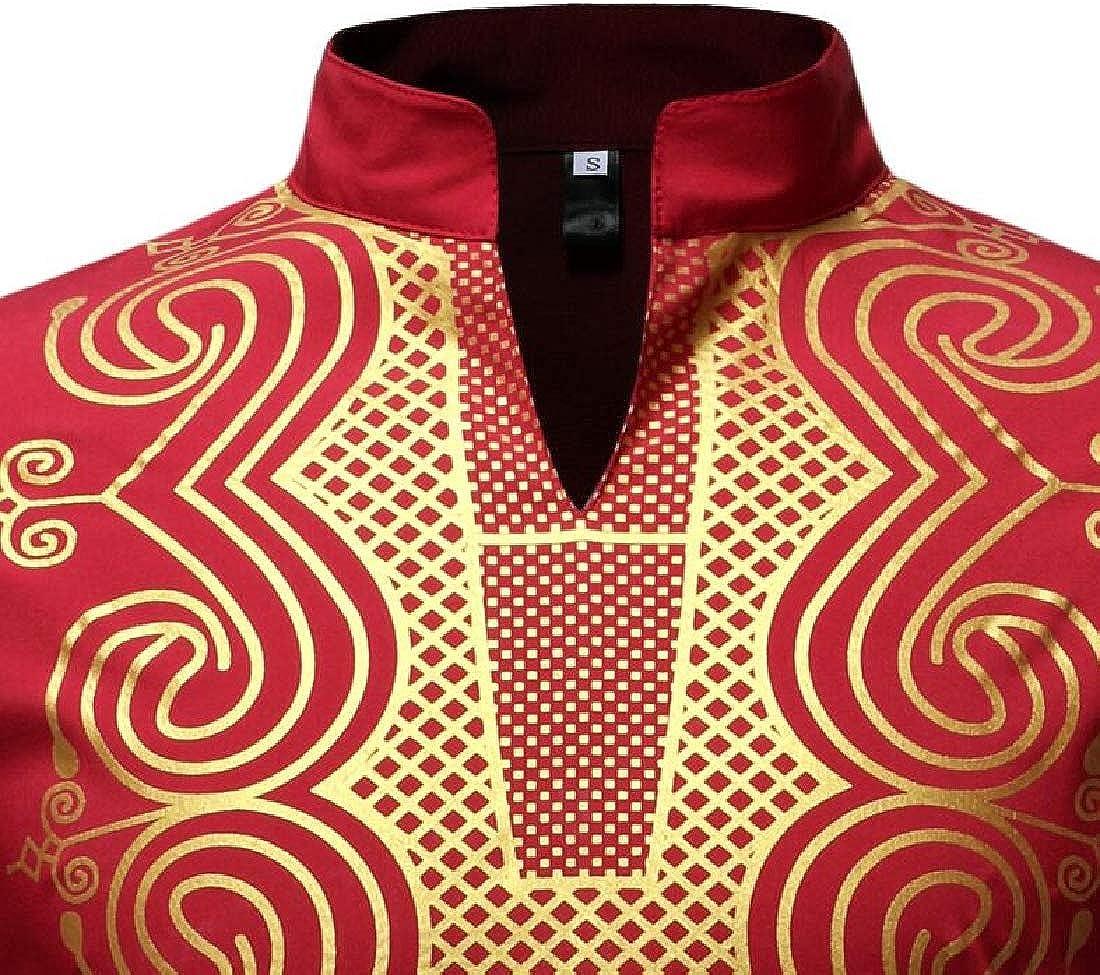 BU2H Men Casual Long Sleeve Plus Size Mid Length African Print Dress Work Shirt