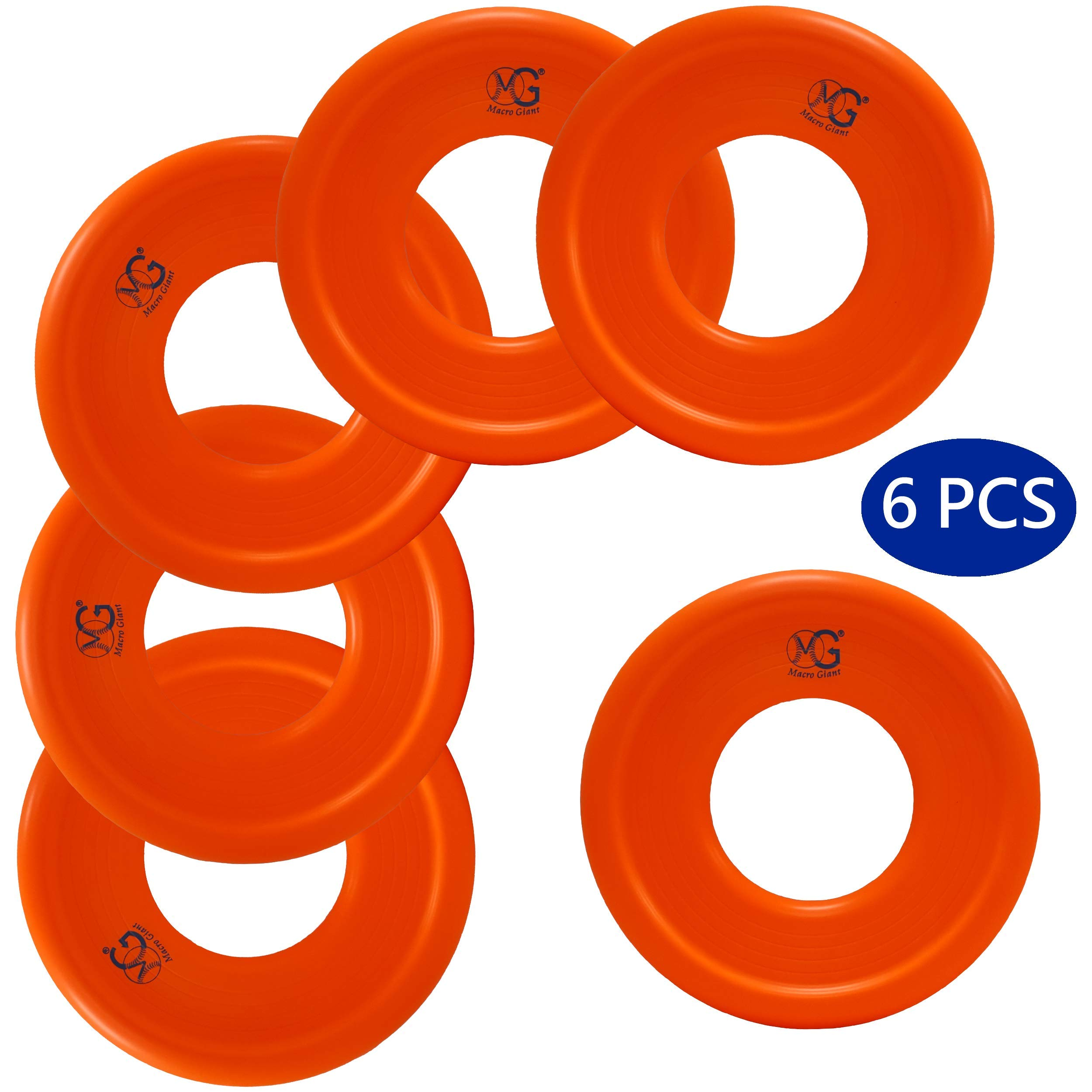 Macro Giant 9 Inch Soft Foam Frisbee Flying Discs, Set of 6, Neon Orange, Playground, Kid Sports Toy, Ring Toss Game, Parenting Activity, Outdoor Indoor, Camp Game