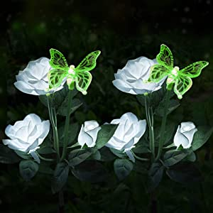 Idefair Solar Garden Lights, Outdoor Multi-Color Changing LED Stake Lights White Rose Flower for Garden, Patio, Yard and Decoration (Rose Flower,2 Pack)