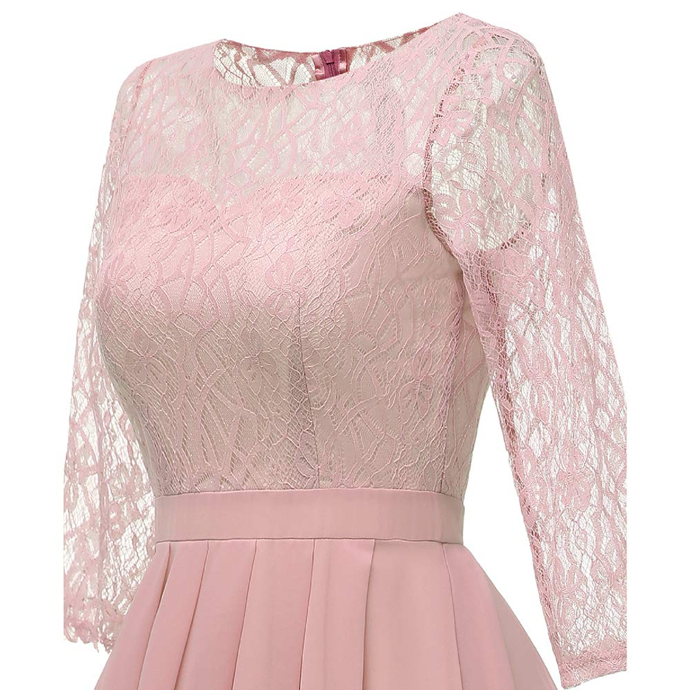 CaiDno Womens Elegant Floral Lace Dress 3//4 Sleeve Bridesmaid Cocktail A-Line Swing O-Neck Dresses for Party Occasion