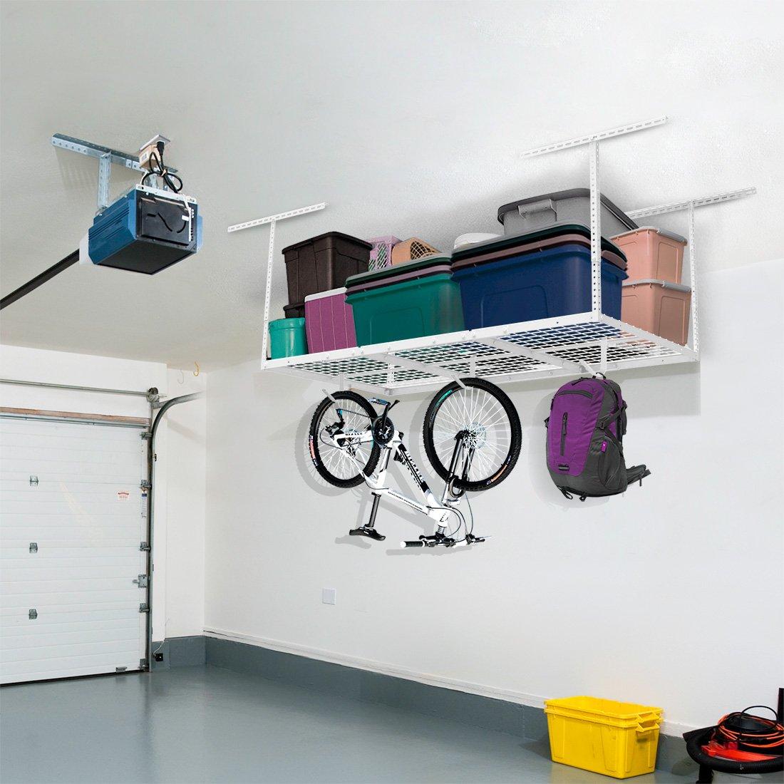 FLEXIMOUNTS 3x6 Overhead Garage Storage Adjustable Ceiling Storage Rack, 72'' Length x 36'' Width x 40'' Height (white)