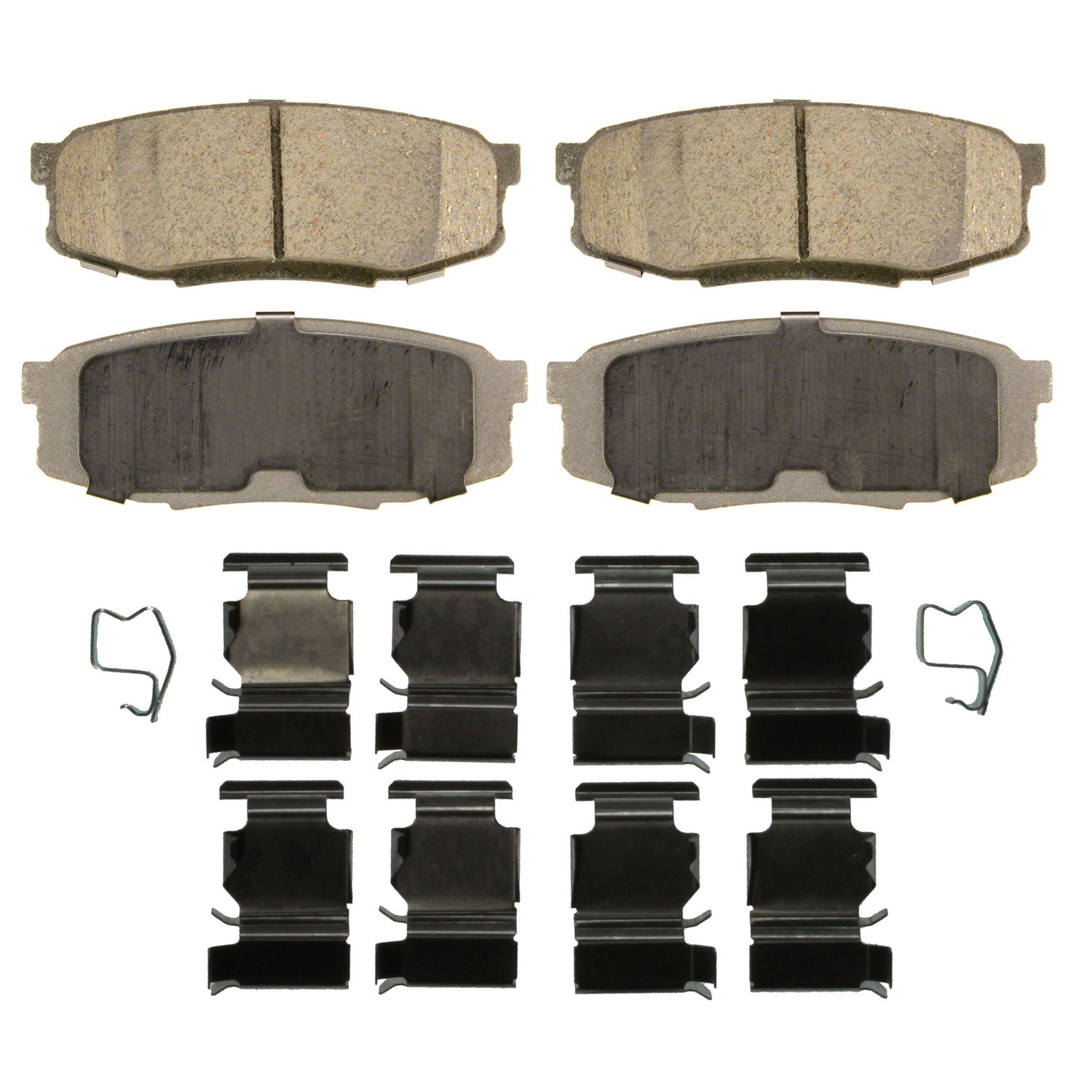 Rear Wagner ThermoQuiet QC1304 Ceramic Disc Pad Set With Installation Hardware