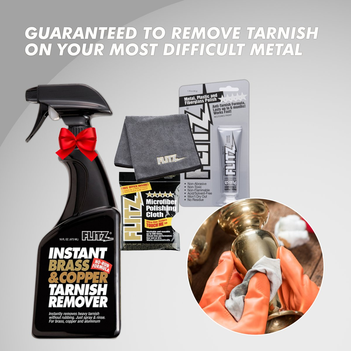 Flitz BC 01806 Instant Brass and Copper Tarnish Remover 16 oz Spray Cleaner + 1.79oz Metal Polish Paste + EXTRA LARGE Microfiber Cloth Shine Away Corrosion by Flitz (Image #5)