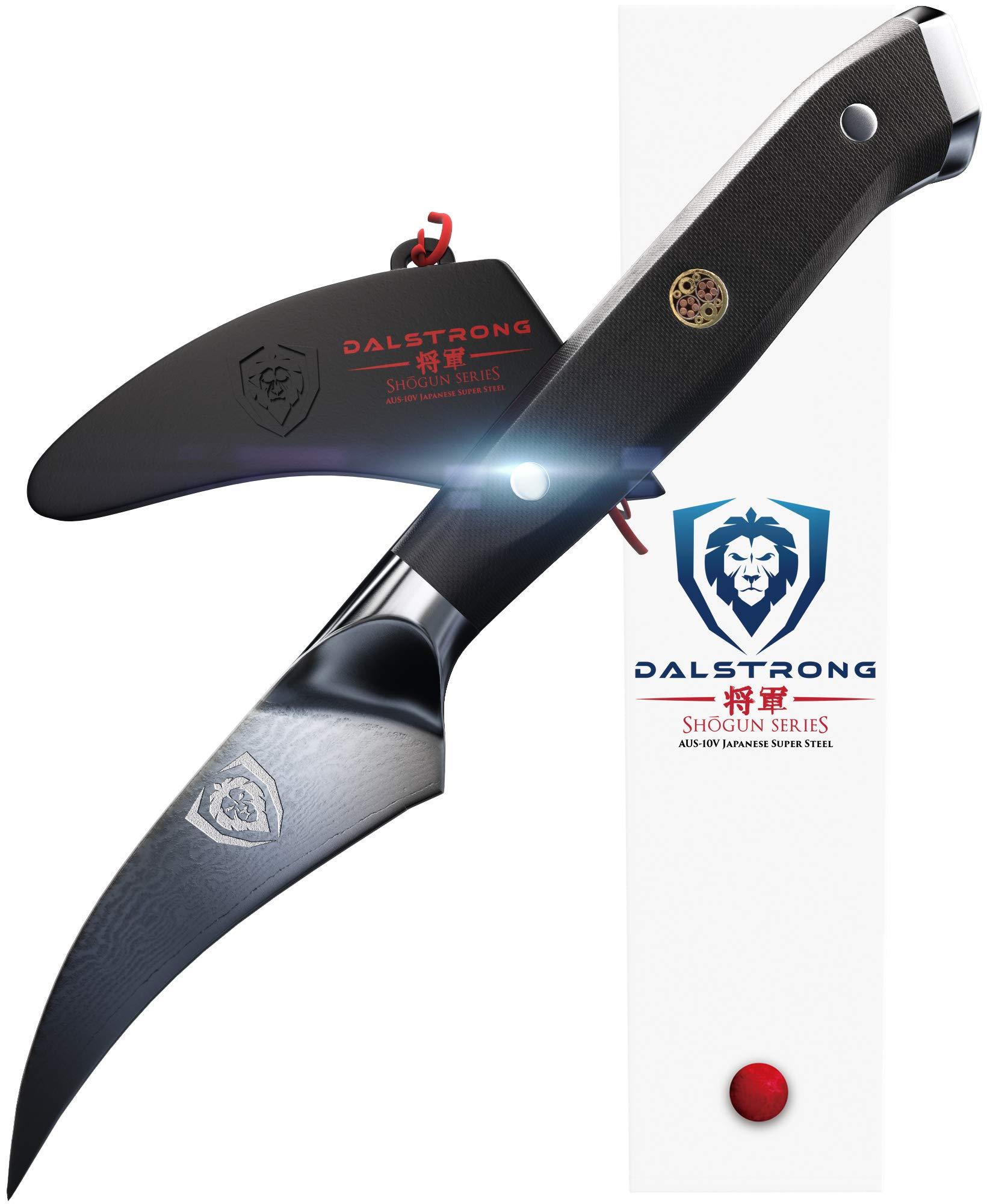 DALSTRONG Bird's Beak Paring Peeling Tourne Knife - Shogun Series - Damascus - Japanese AUS-10V Super Steel - Vacuum Heat Treated - 3'' Peeler - Guard by Dalstrong
