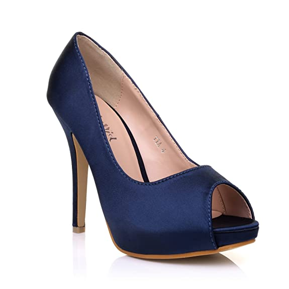 TIA Navy Blue Satin Stiletto High Heel Platform Bridal Peep Toe Shoes:  Amazon.co.uk: Shoes & Bags
