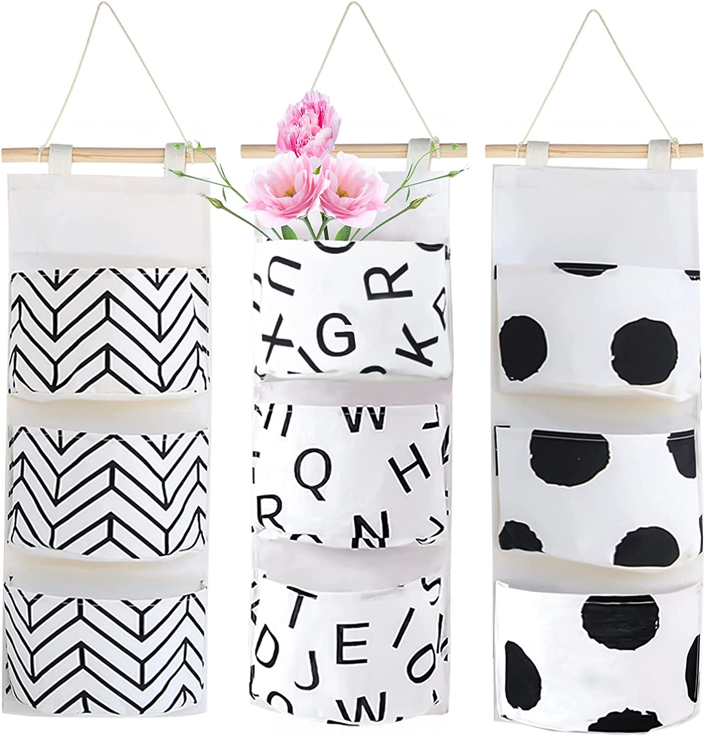 3Pcs Wall Closet Hanging Storage Bag, Waterproof Linen Over The Door Organizer with 3 Width Pockets,Fabric Wall Hanging Storage Pouches for Bedroom Bathroom(Arrow/ Letter/Dot)