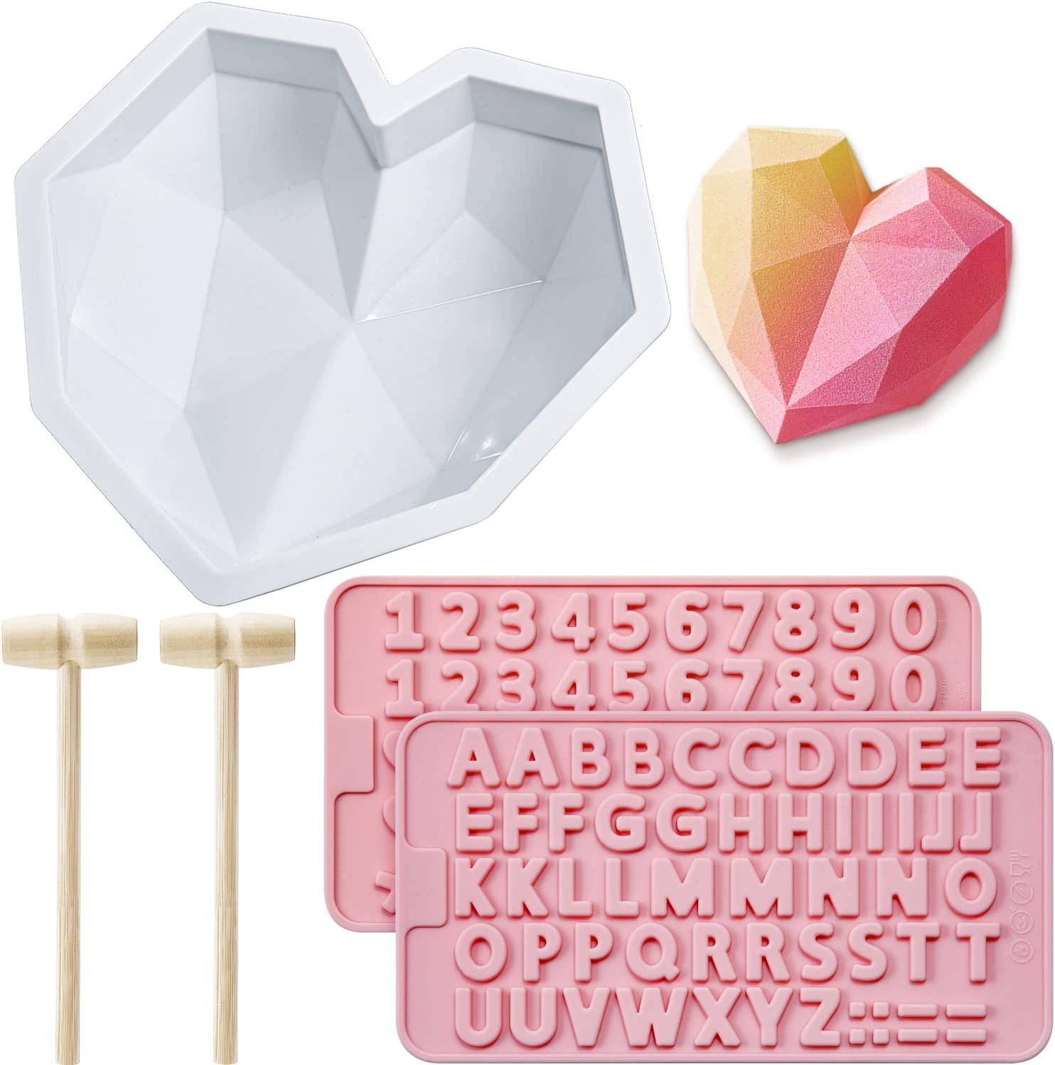 Diamond Heart Mousse Cake Mold Trays 8.7 Inch Silicone Baking Pan Oven Safe Not Sticky Mould, Wooden Hammers Mallet Pounding Toy and Chocolate Molds for Valentine Candy Chocolate Making (Pink)