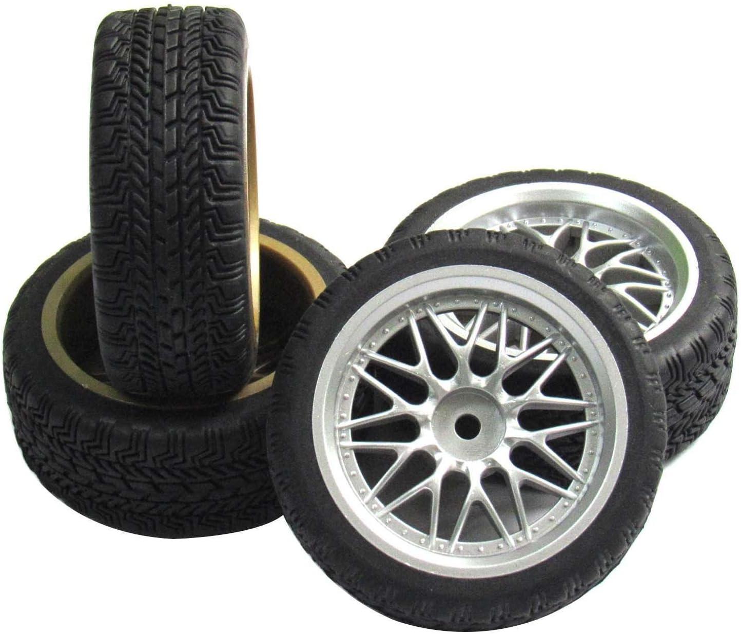 4pcs 12mm Hub Smooth Hard Tires Tyre Black Wheel Rims For RC 1//10 Drift Car