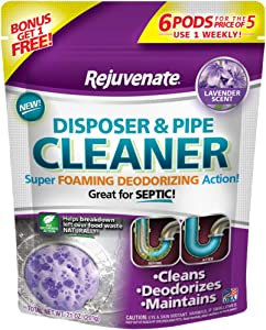 Rejuvenate Garbage Disposal and Drain Pipe Cleaner Powerful Foaming Action and Removes Garbage Disposal Smells 6 Unit Pack Lavender Scent