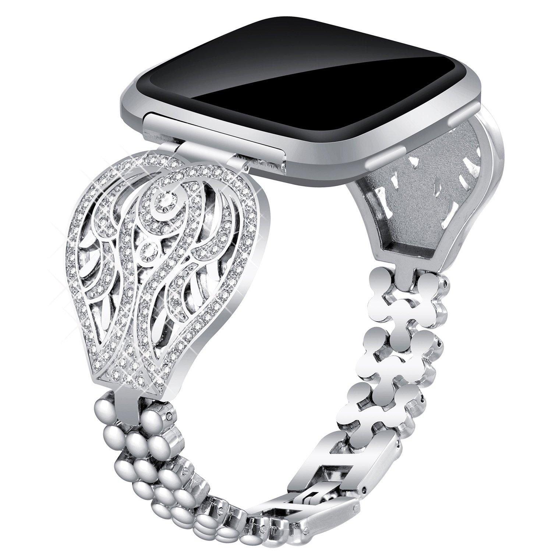 Voma for Fitbit VersaバンドレディースメンズスモールLarge ,ステンレススチール交換用メタルストラップブレスレット調節可能なWristbands for Fitbit Versa Smartwatch B07CG8ZNZK Beauty, Silver Beauty, Silver