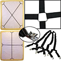 Sheet Bed Suspenders Adjustable Crisscross Fitted Sheet Band Straps Grippers Adjustable Mattress Pad Duvet Cover Bed Sheet Corner Holder Elastic Straps Fasteners Clips Grippers Clippers HEAVY DUTY