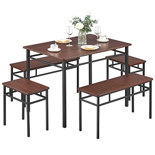 Kealive Dining Table Set with Bench 5 Pieces Modern Wood Table Top 2 Benches and 2 Stools, Dining Room Furniture Set 43.3 L x 27.6 W x 29.5 H Metal Frame, Brown