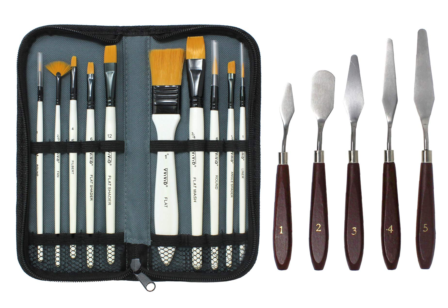 Workhorse Painting Tools Set (10 Paint Brush Set w/Palette Knife) by VViViD