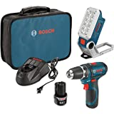 Bosch PS31-2A 12V 2-Speed Drill/Driver Kit and 12V Max LED Work Light w/ 2 Batteries, Charger and Case