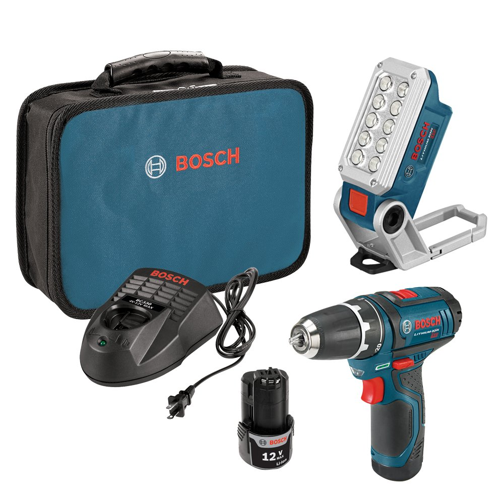 Bosch 12V 2-Speed Drill/Driver Kit and 12V Max LED Work Light w/ 2 Batteries, Charger and Case