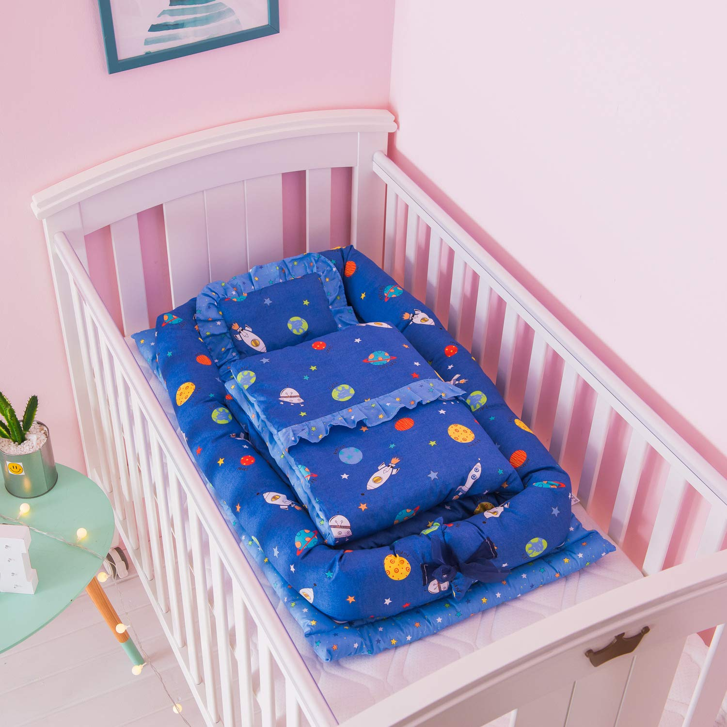 Baby Cot with Quilt (0-24 Months) Detachable Baby Isolated Bed Newborn Baby Sleeping Artifact Collapsible Bionic Bed