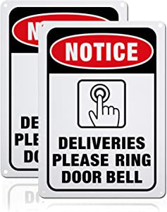 GLOBLELAND 2 Pack Delivery Notice of Package Doorbell Sign, 7x10 inches 40 Mil Aluminum Ring Doorbell Notice Caution Sign for Home or Business, Reflective UV Protected Waterproof Fade Resistant