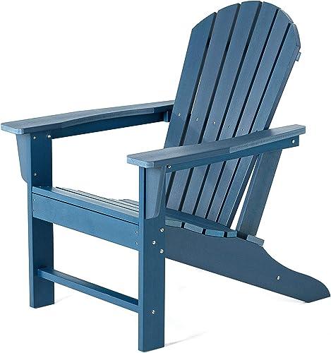 SERWALL Adirondack Chair Adult-Size, Weather Resistant for Patio Deck Garden, Backyard Lawn Furniture Easy Maintenance Classic Adirondack Chair Design Blue