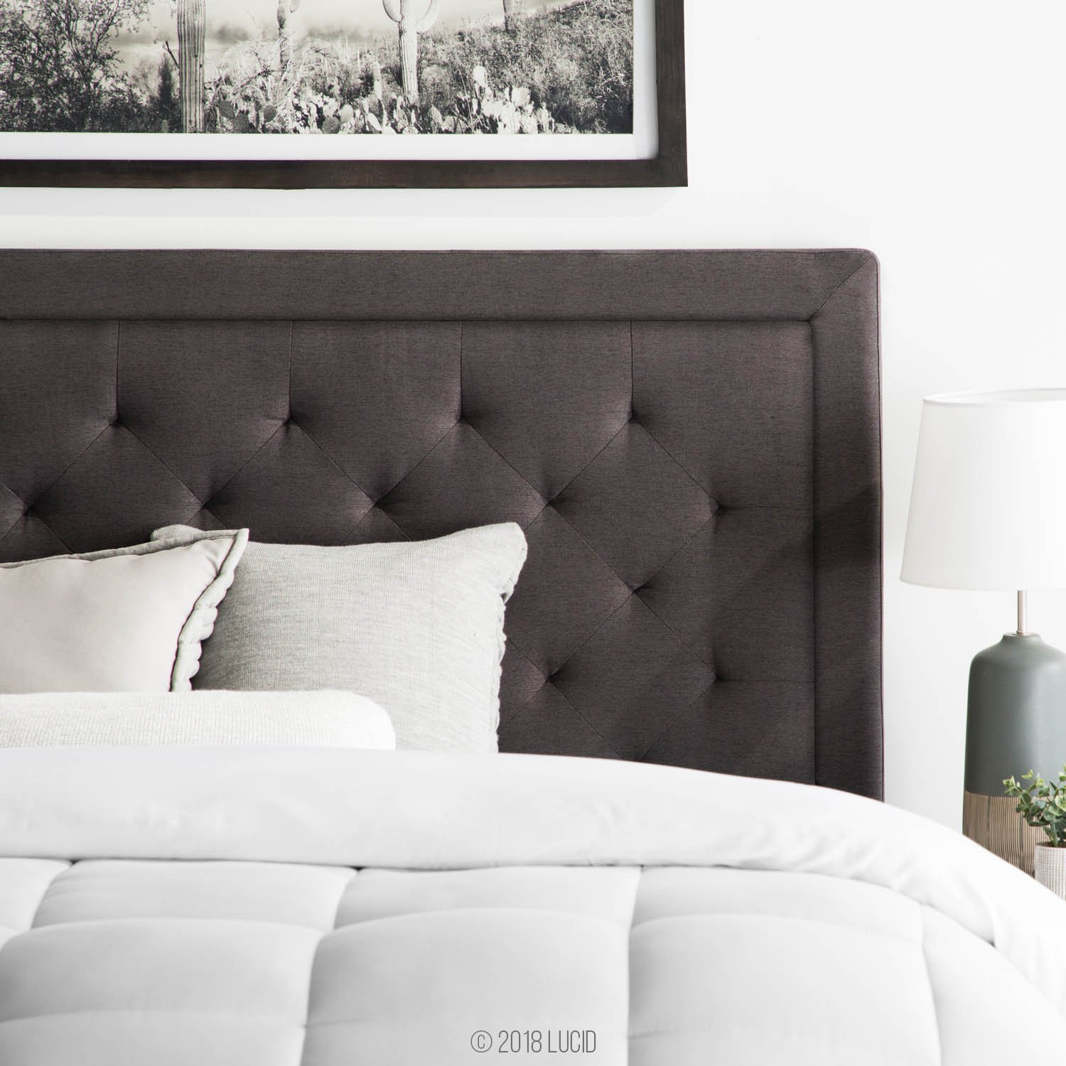 pretty nice c22e2 f9a47 LUCID Bordered Upholstered Headboard with Diamond Tufting, Twin/Twin XL,  Charcoal